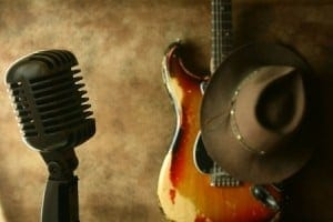 Old Guitar and Vintage Microphone