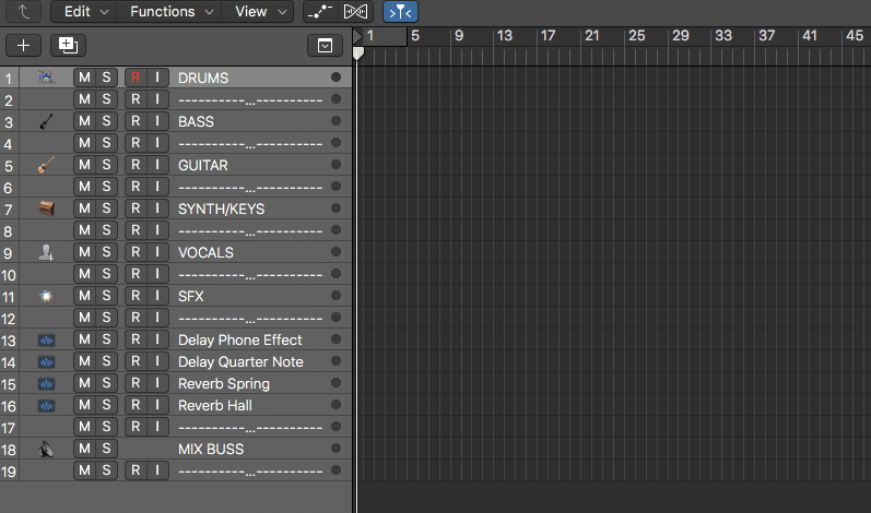 Mixing Template for Audio Engineering