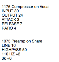 Equipment Recall Notes Example for Audio Mixing