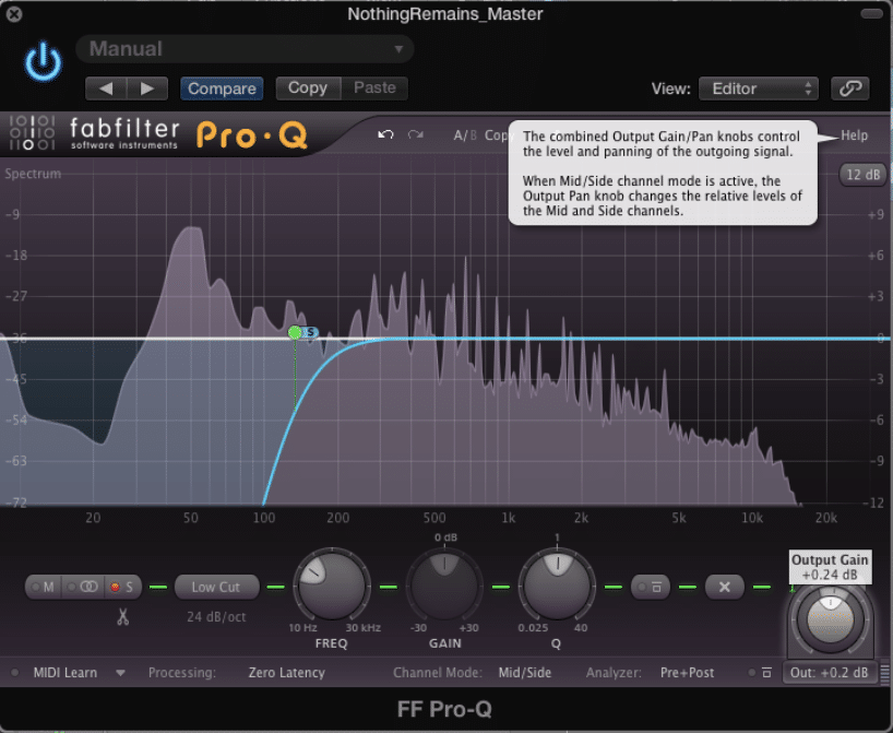 Experiment with High-Pass Filter Frequency Points During Mid-Side Processing