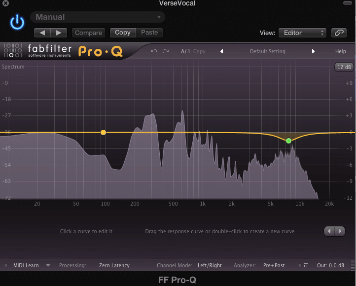 Use the EQ to turn down the same frequencies you noticed in Step 1