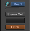 Click the rotary the the left of 'Bus 1.' Adjust it just like the channel fader