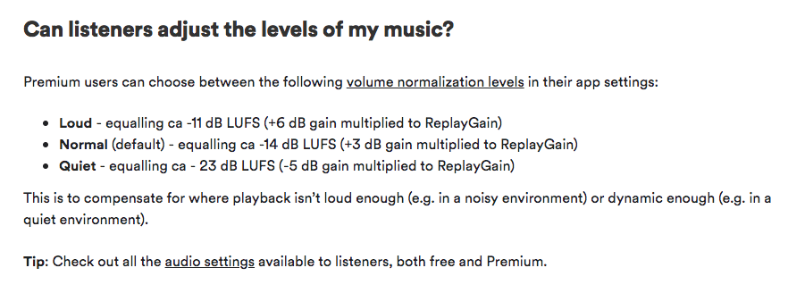 Loudness settings from Spotify's Artist FAQ section