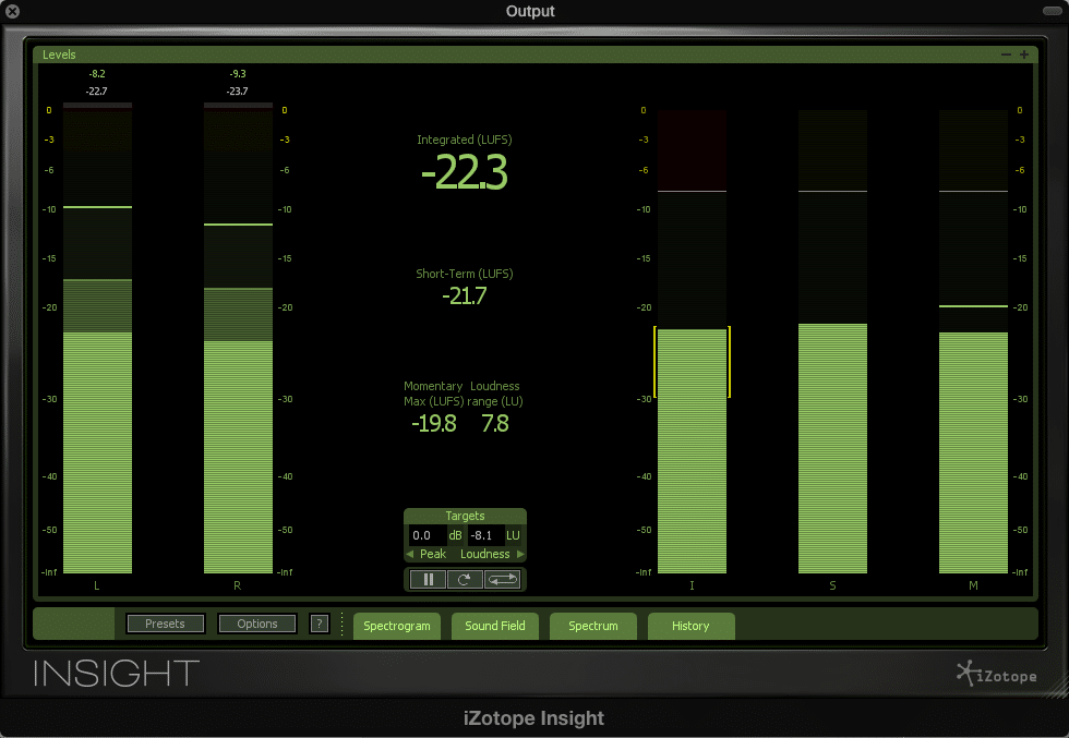 Izotope's Insight Plugin, with an integrated LUFS of -22.3