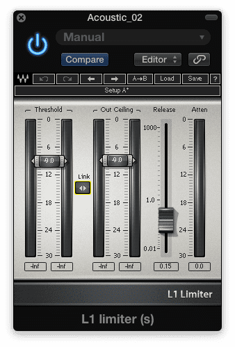 The 'Link' option allows for simultaneous manipulation of the 'Threshold' and 'Output Ceiling' functions.