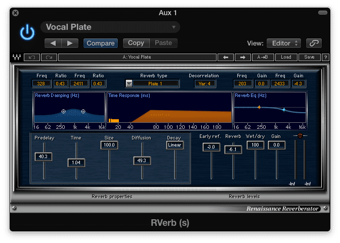 Create a concise reverb with quick reflections and a short reverb time