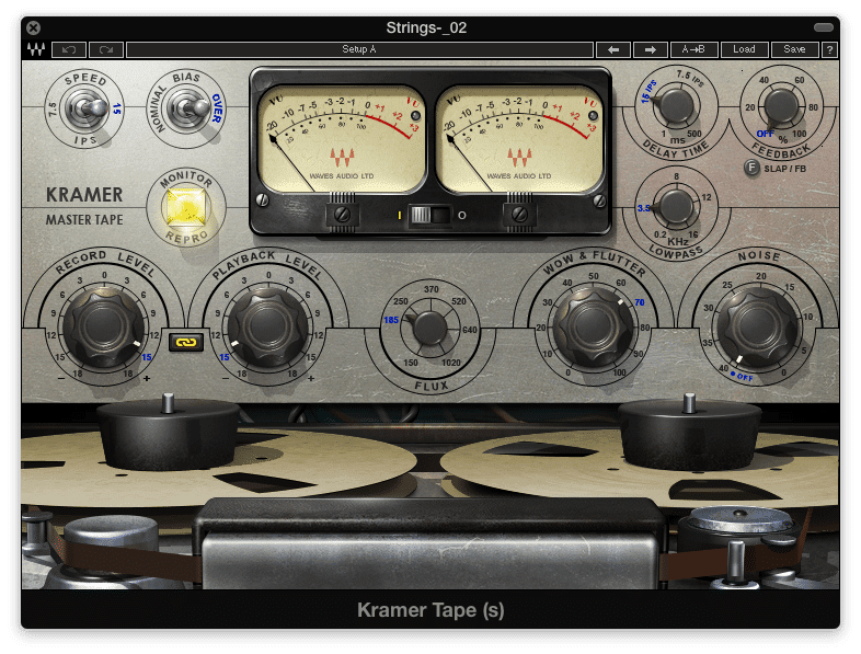 Tape emulation allows for tape and tube distortion - along with flutter, noise, and an eq cut caused by a slower tape speed