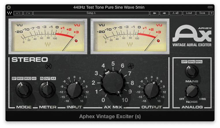 Even with the maximum AX Mix settings, an exciter will not generate harmonics.