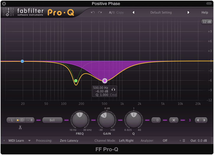 Notice that this EQ is exactly equal to and opposite of the first EQ insert.