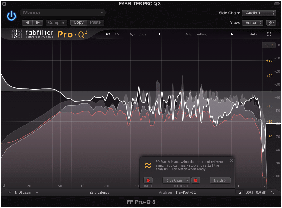 The quickest way to capture audio is insert the EQ on a track, and then side chaining another instrument.