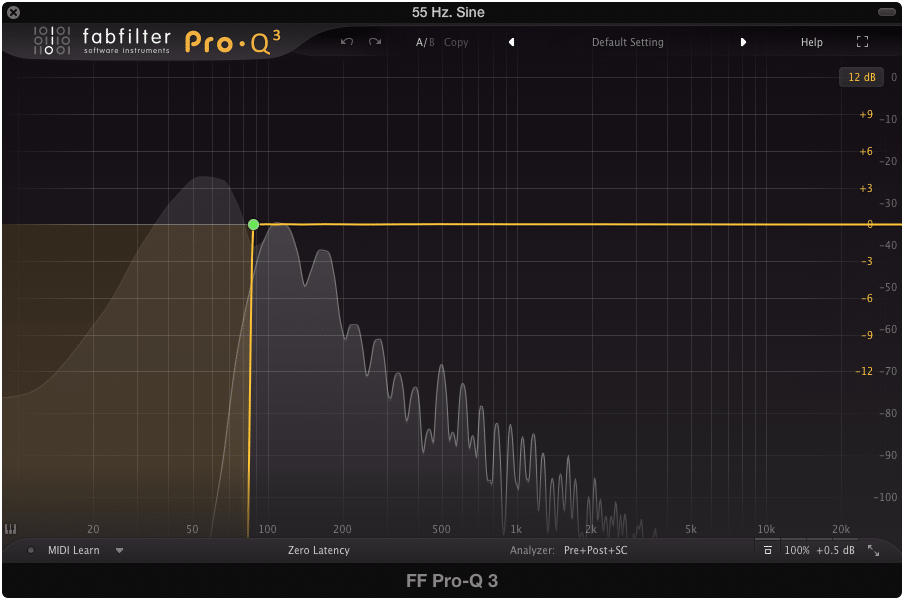 The FabFilter Pro Q, with a brick wall cut to cleanly remove the fundamental.