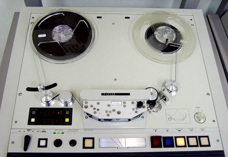 Notice the speed functions on the lower right side of this tape machine.