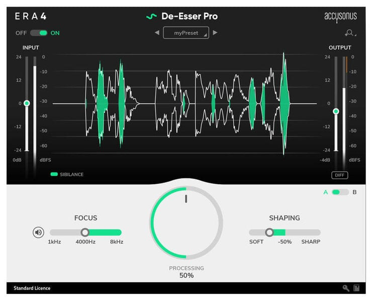 The ERA De-esser Pro offers great results with a simple interface to speed up your workflow.