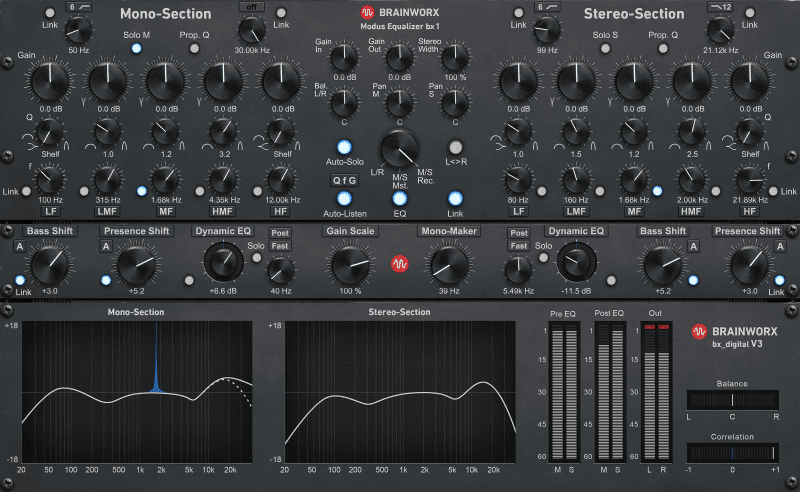 The Brainworx bx offers great control and mid-side processing.