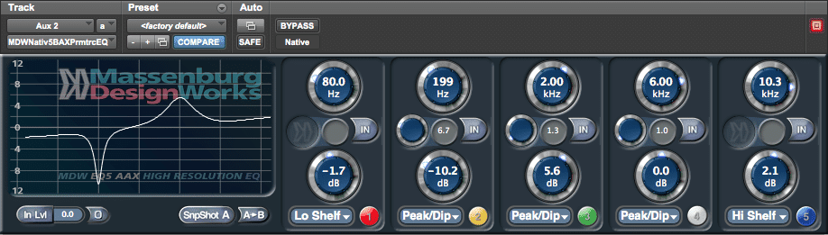 A completely clean, 5 band parametric EQ.