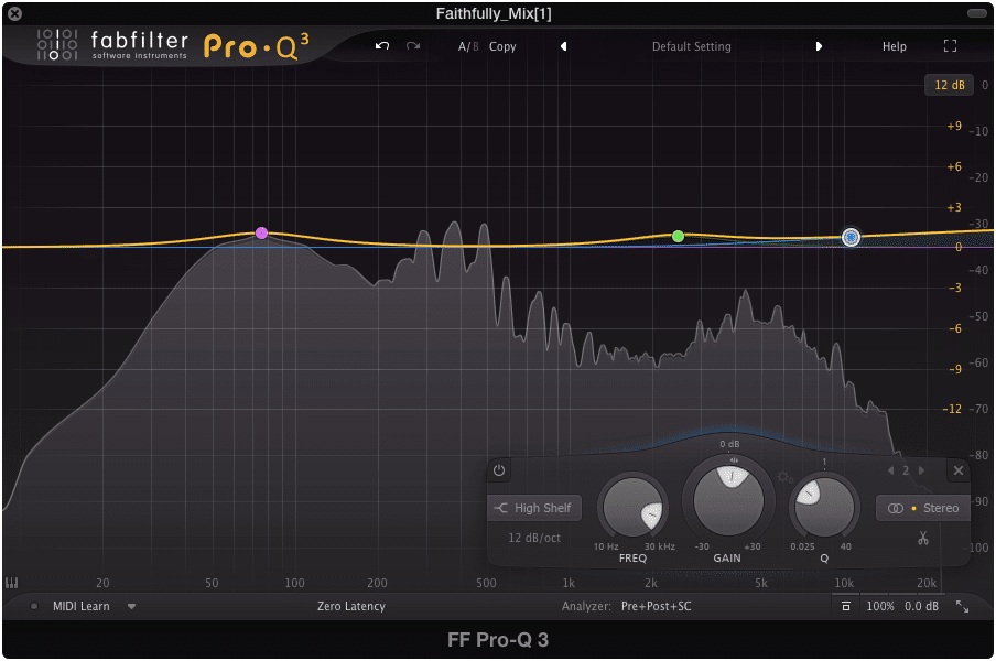 Gentle amplify frequencies at this stage in your digital mastering signal chain.