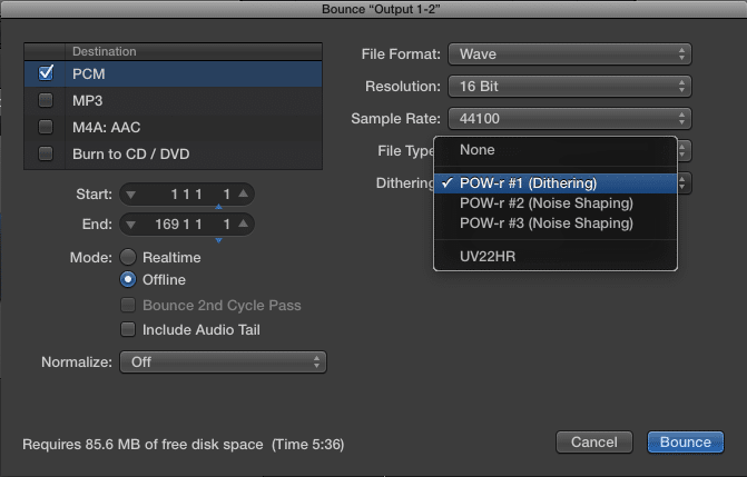In most DAWs, dithering is an option when exporting the session.