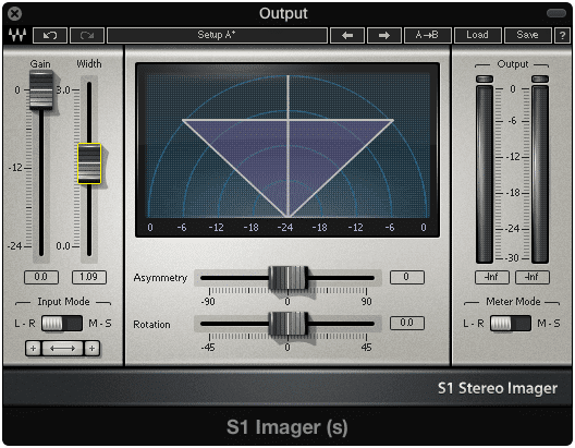 Image widening can be used on the output or on individual stems.