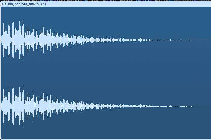 The waveform of an isolated snare drum.
