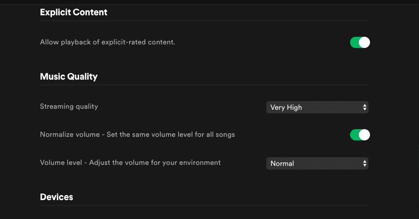 Spotify allows listeners to change their loudness normalization settings.