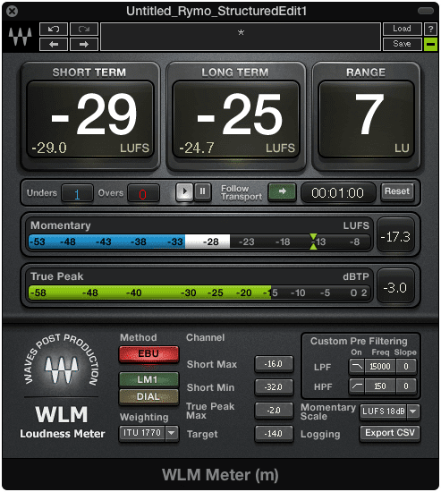 A loudness meter can give you reliable results for setting loudness levels when mastering.