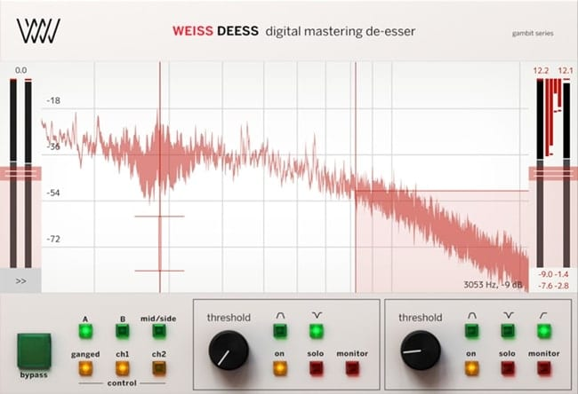 Mid-side processing and high sample rate capability make this plugin a great choice for de-essing during mastering.