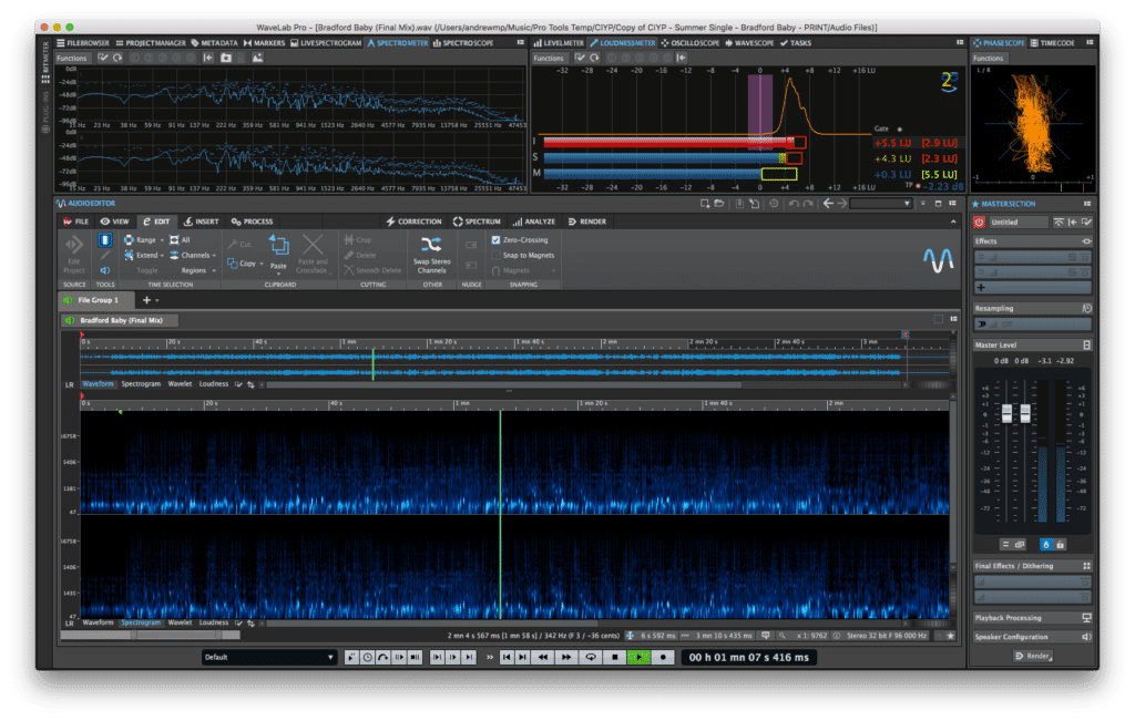 A 64-bit audio engine that supports 32-bit audio with sample rates up to 384 kHz, makes WaveLab Pro a go-to for the highest fidelity currently possibly.
