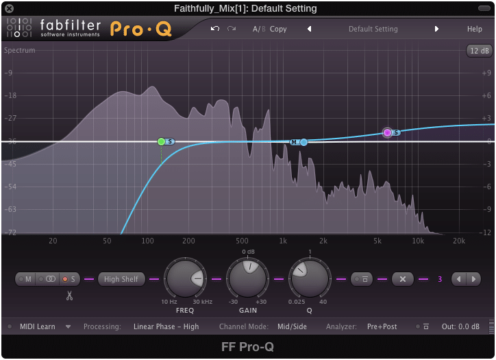 Cutting the side image's low frequencies and boosting their high frequencies is a common practice during mastering.