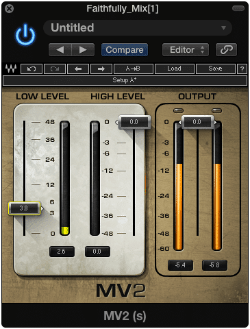 A low-level compressor amplifies quieter parts of the recording.