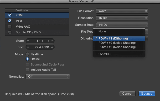 You can either dither using a plugin, or while exporting.
