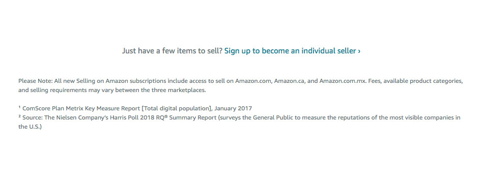 An individual account on Amazon is free to sign up for, and costs $0.99 per sale.