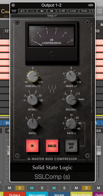 In this example, the Guitars and Pianos/Strings are running through the compressor.  If another signal was sent through, the compressor would react differently.