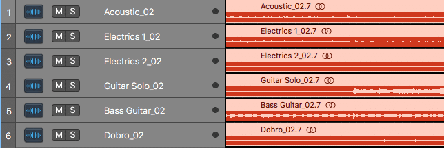 Color coordinating your tracks will help keep your sync mastering session organized.
