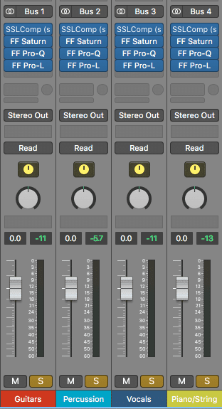 Processing to these stems should be modeled after processing used for typical stereo mastering.
