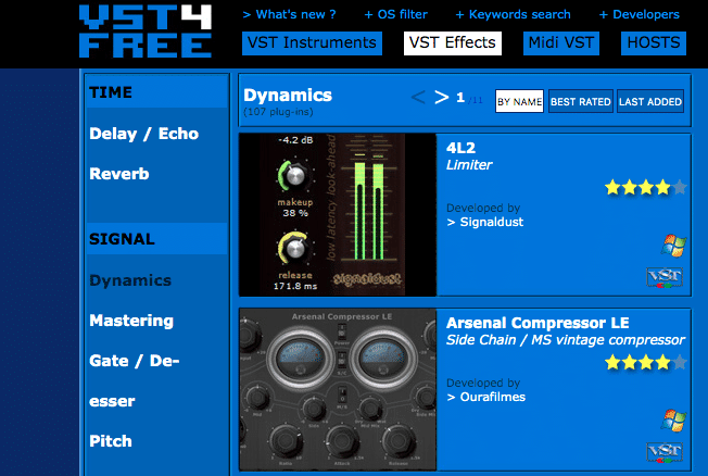 The majority of these plugins can be downloaded from VST4Free.