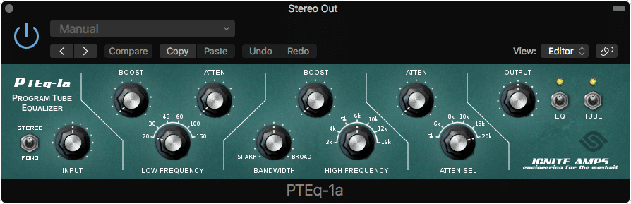 The PTEq-1A is modeled after classic equalization hardware.