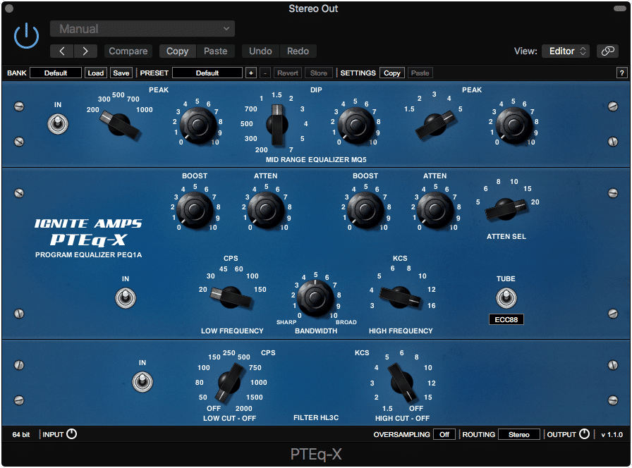 The PTEq-X emulates 3 various plugins.