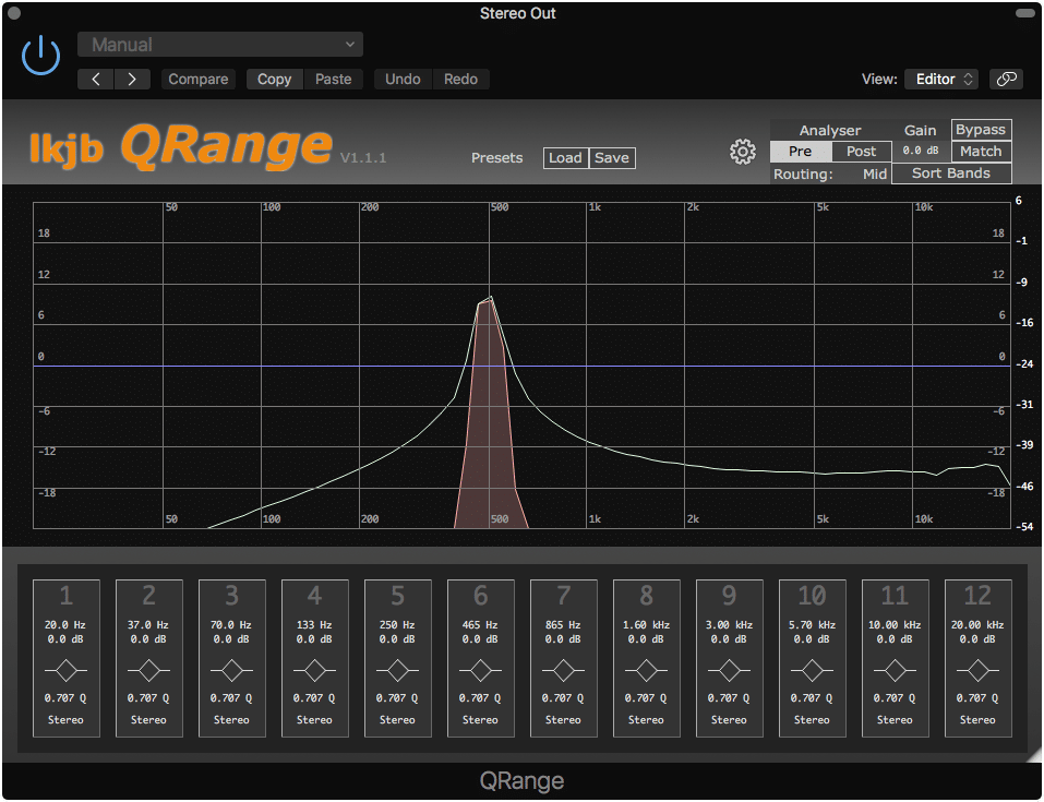 The QRange offers 12 possible Eq bands.