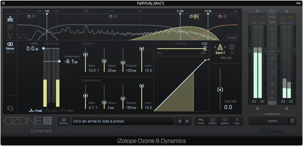 With a multiband compressor, you can select the exact band to affect the desired frequencies.