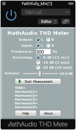 This plugin can measure the THD of your soundcard, but not your processed signal.