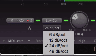 Choose a 12dB to 24dB per octave cut to ensure that the low end is mono.
