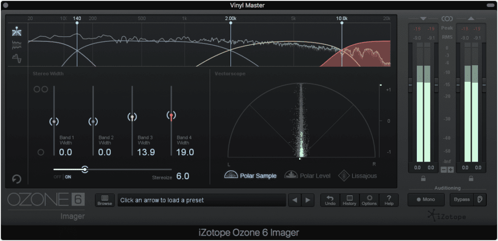 Imager's like this one should typically be avoided when mastering for vinyl.