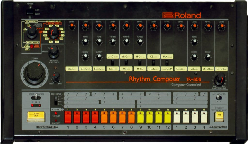 The TR-808 drum composer helped to popularize the 808
