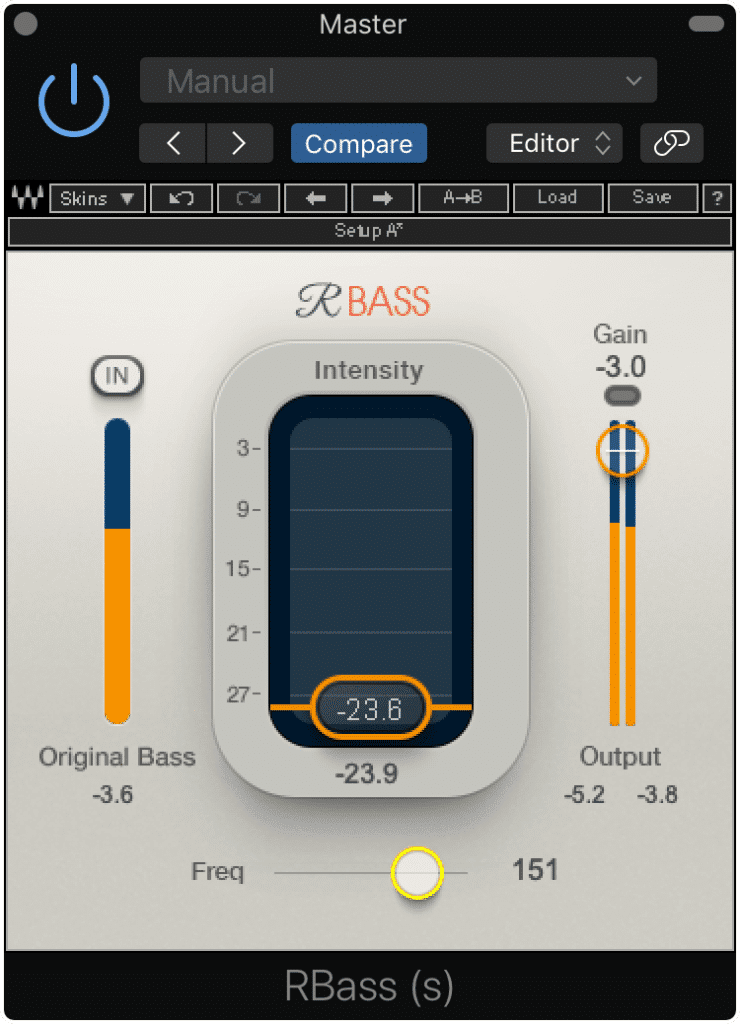 The RBass plugin creates low-order harmonics directly above the lowest fundamental.