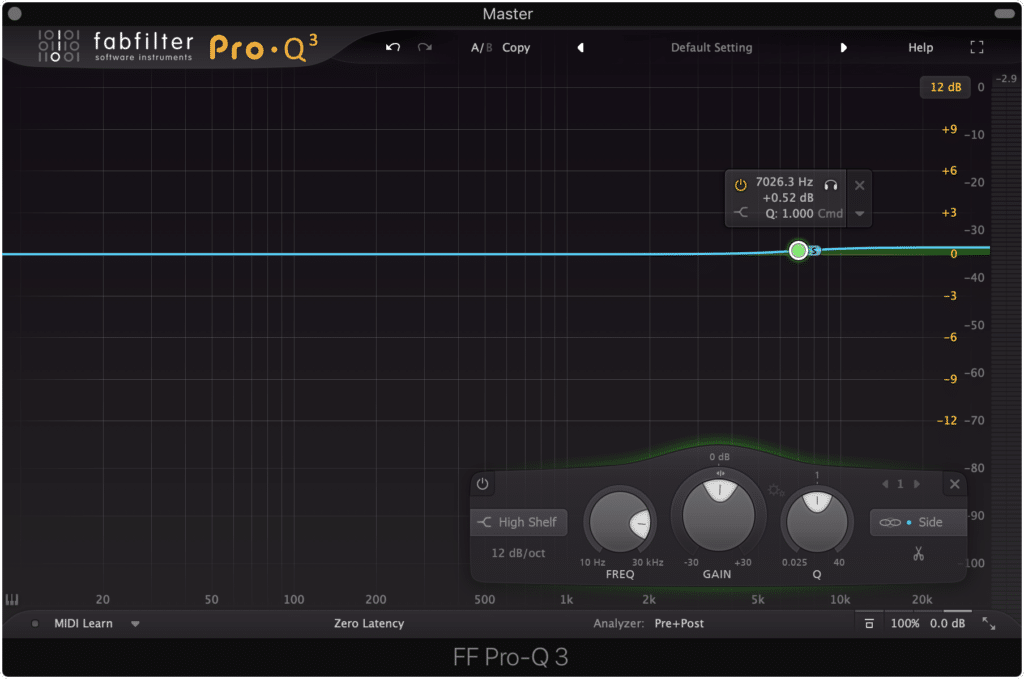The curve shown above is a good starting point when equalizing the side image.