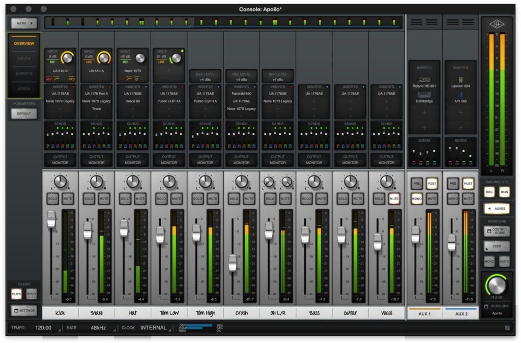 The UAD software alters electrical signals to its hardware to recreate the sounds of particular preamps, eqs, and other hardware equipment.