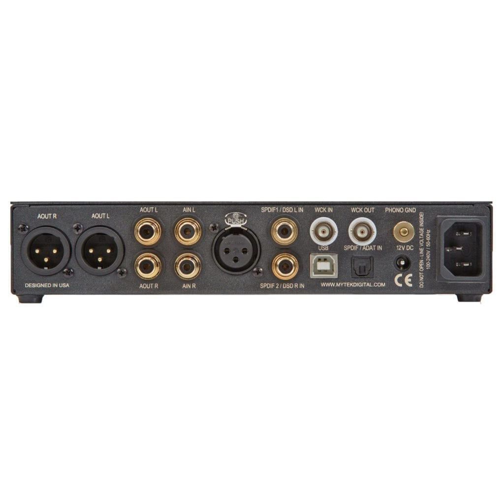 This amplifier supports digital and analog inputs, as well as includes a separate phono amplifier.