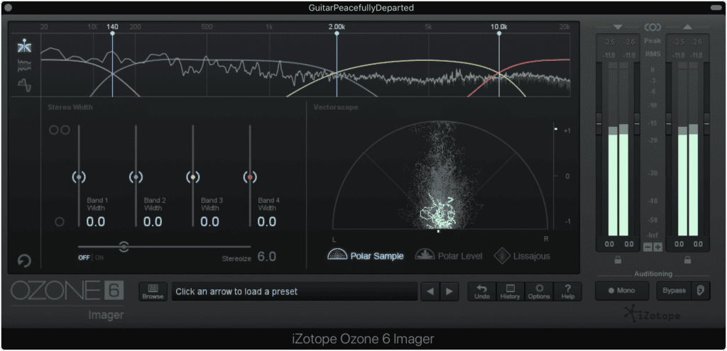 Frequency specific stereo imaging function similarly to other multi-band plugins