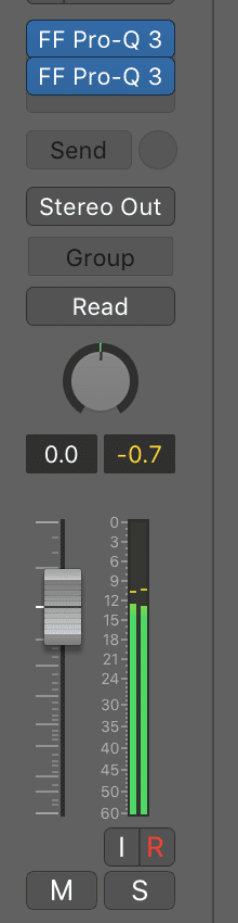 Notice that the same clipping distortion will not show up in the channel's meter.