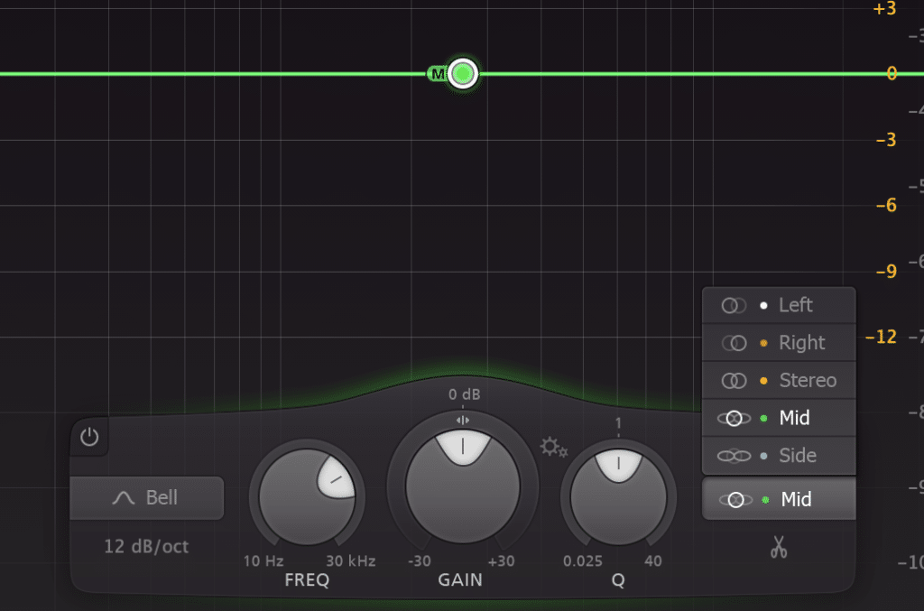Enabling the mid-side function of your equalizer may vary for the method shown here.